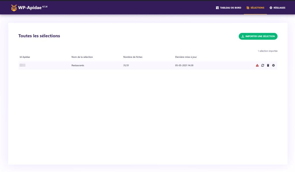 écran de liste des sélections importées